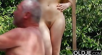 Old Young Porn - Teen Fitness Yoga Teacher seduces and fucks an old man