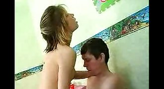 Dad fucked Youthfull Teen Daughter on Table at Home