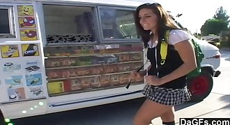 Ice cream man dips his popsicle in a young teen
